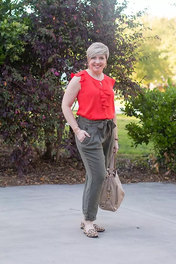 paper bag waist pants with ruffle top