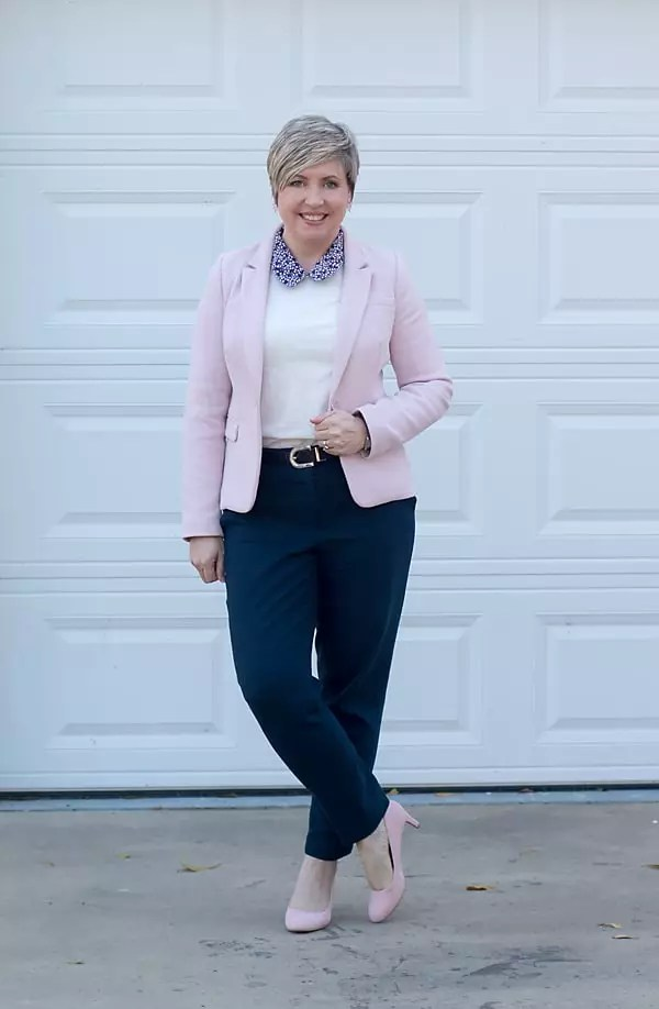 blush blazer with collar sweater
