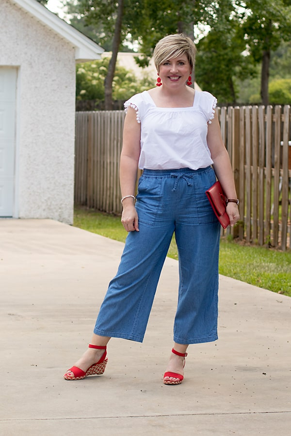 red white and blue outfit with wide leg chambray pants