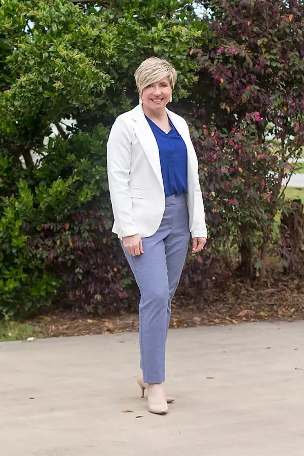 white blazer with colorful top