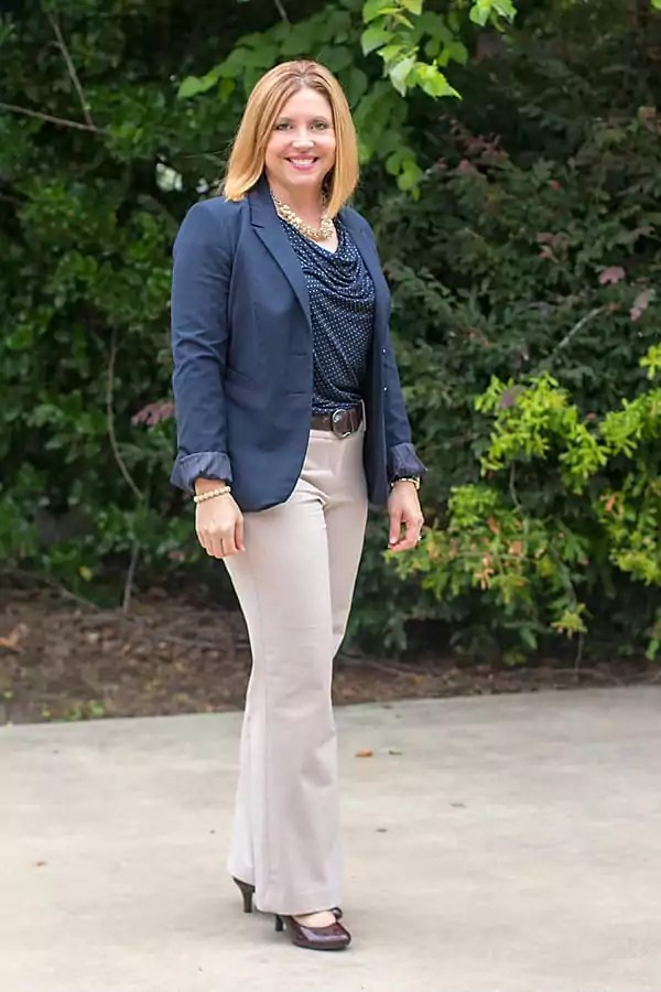 navy and tan womens office outfit