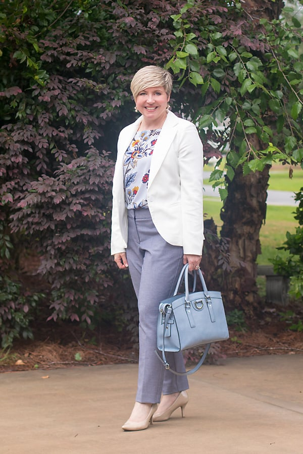 white blazer and light blue pants womens office attire