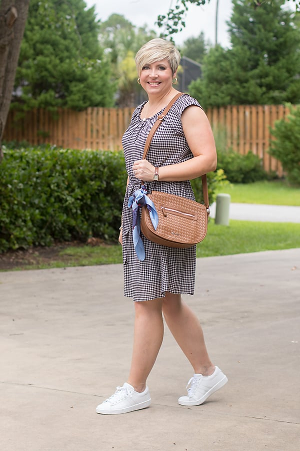 gingham dress with white sneakers