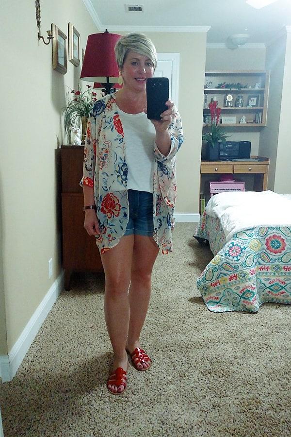 kimono and denim shorts