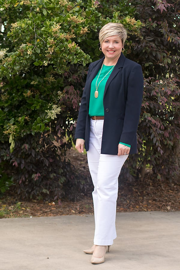women office outfit with white trousers