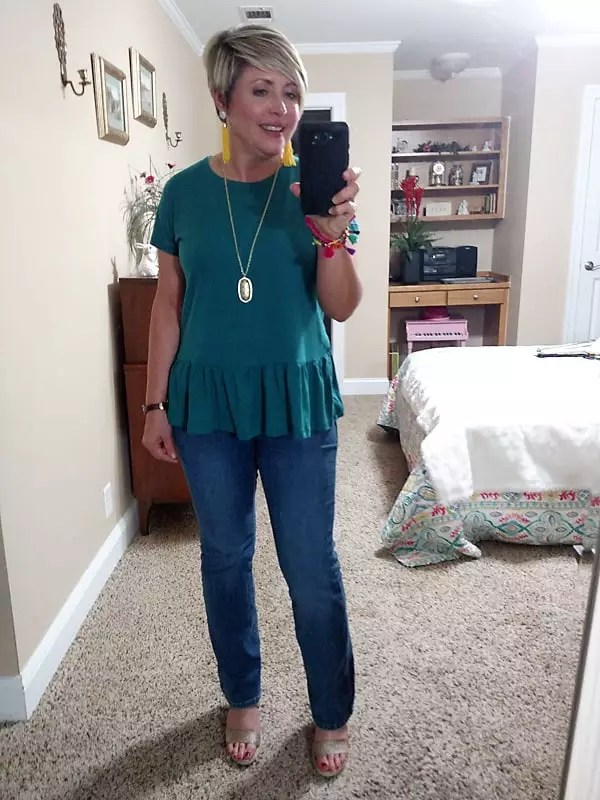 boot cut jeans and wedges summer outfit