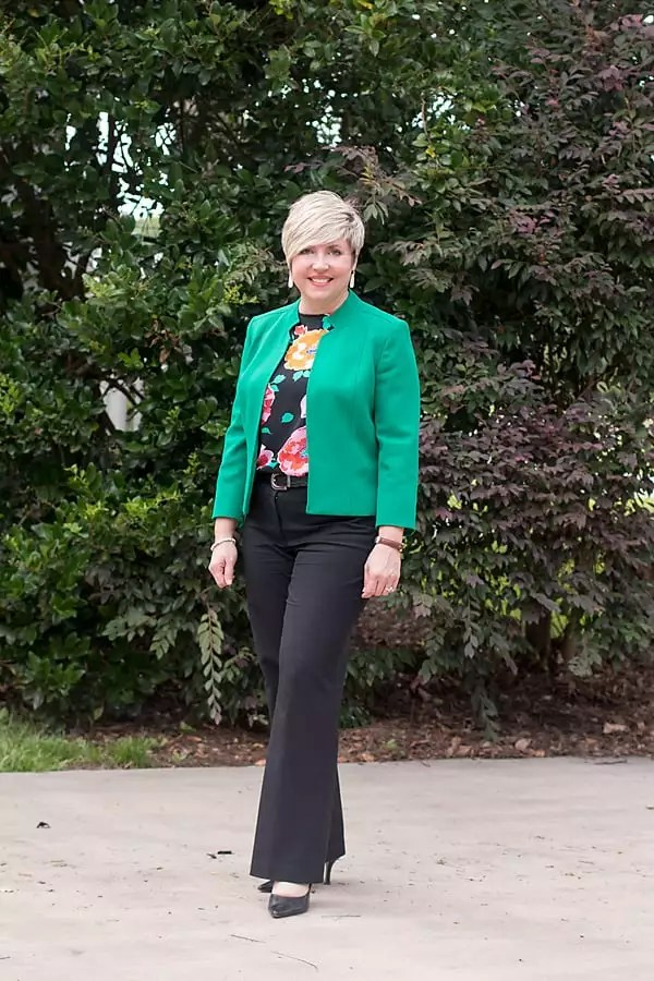 green colorful summer blazer outfit