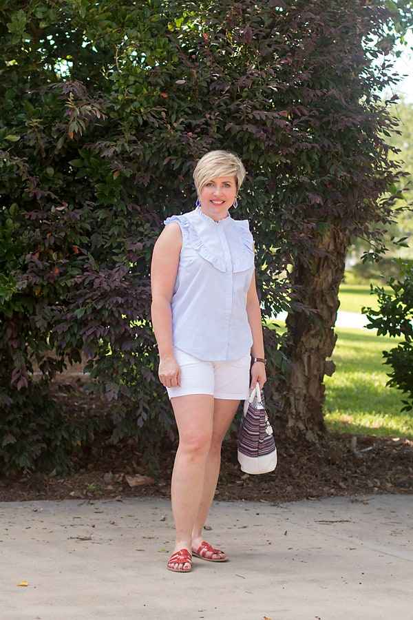 blue and white striped top with ruffle detail in summer outfit