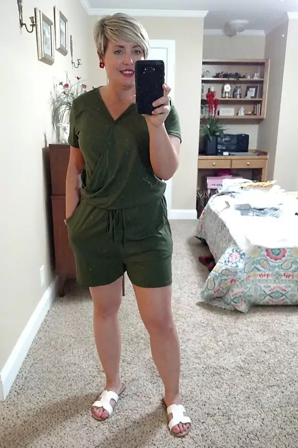 fashion blogger wearing wrap top romper from Amazon
