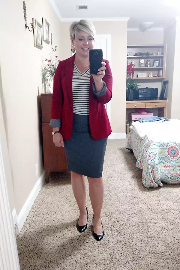 striped tee with blazer and skirt