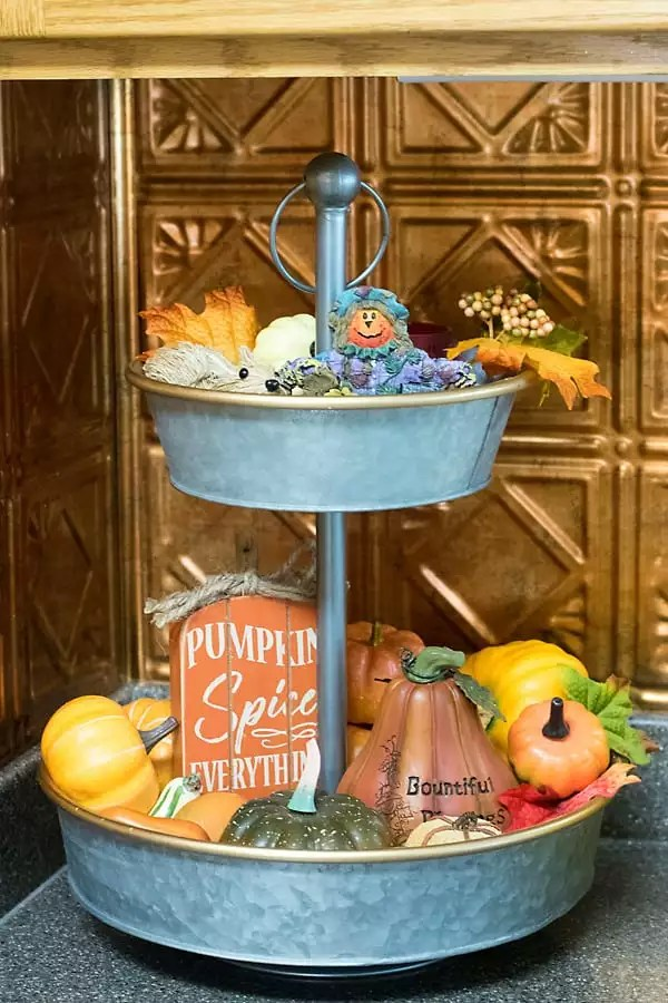 tiered tray fall decor
