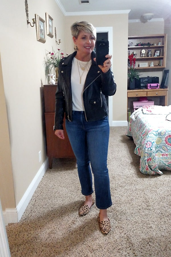 crop flare jeans and leopard flats