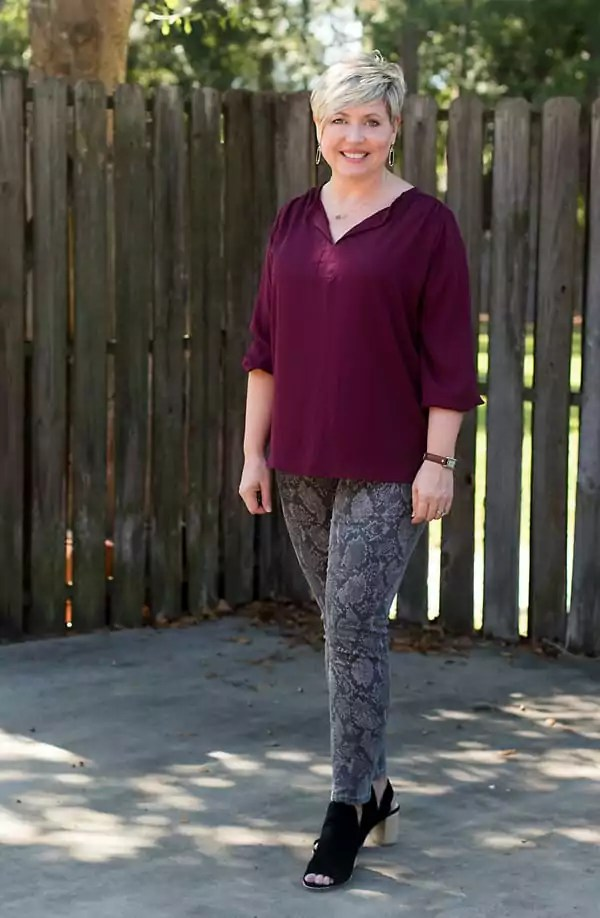 tunic top with snakeskin jeans