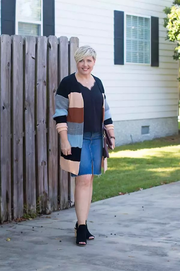 denim skirt with cardigan fall outfit