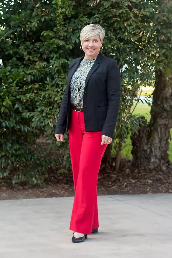 statement piece red trousers