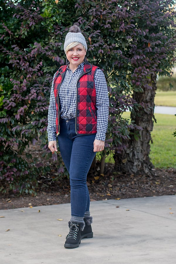 pattern mixing for fall with gingham and buffalo plaid