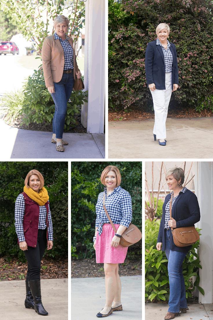 Gingham shirt styled 5 ways