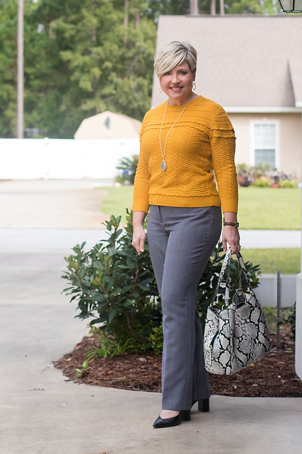 fall office outfit for women over 40