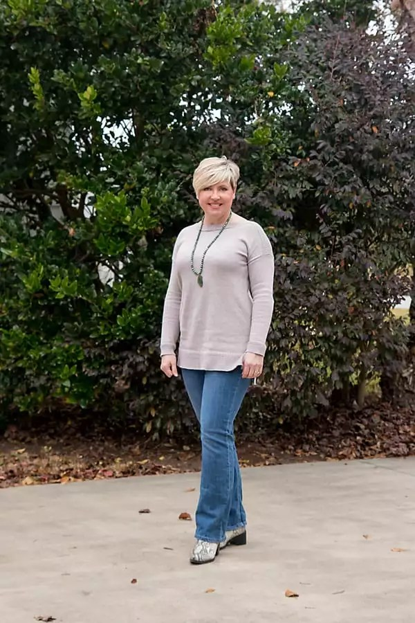 boot cut jeans with sweater, fashion over 40