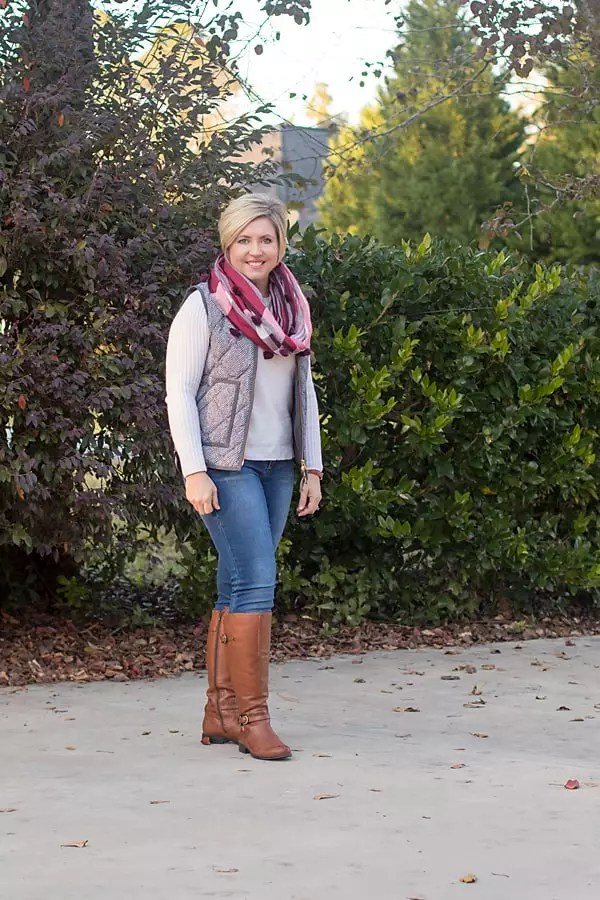 herringbone vest and plaid scarf winter outfit