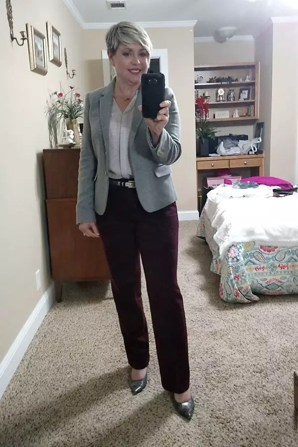 burgundy trousers and grey blazer work outfit