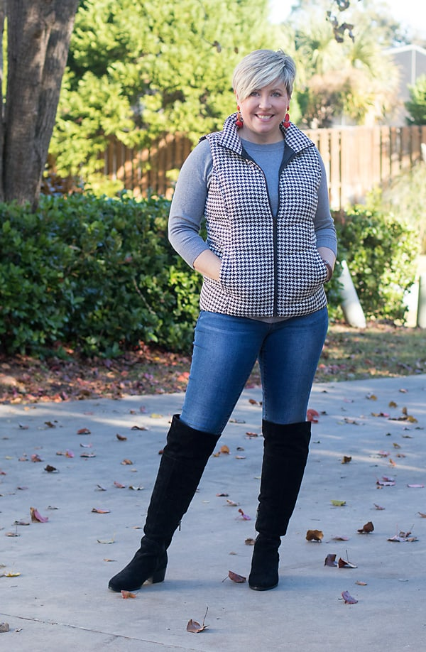 womens winter outfit with houndstooth puffer vest