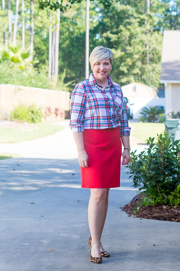 plaid shirt and red skirt Christmas outfit