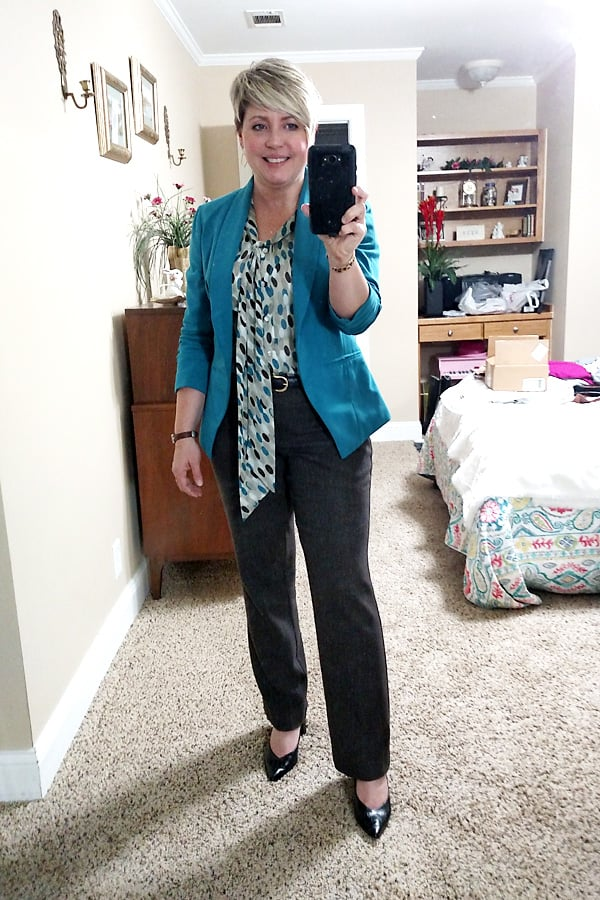 brown and blue office outfit