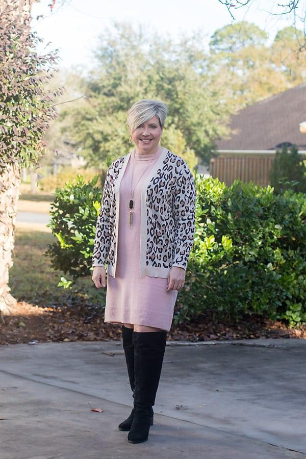 leopard print cardigan with sweater dress