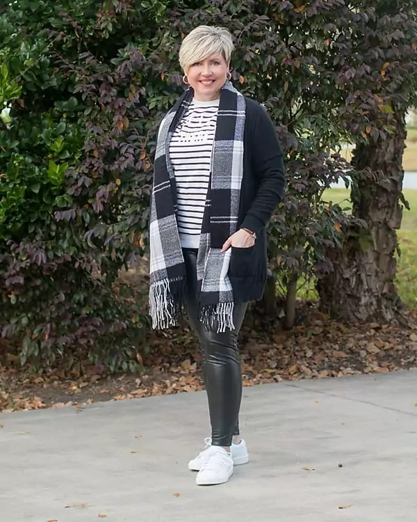 faux leather leggings and sweatshirt outfit, fashion over 40