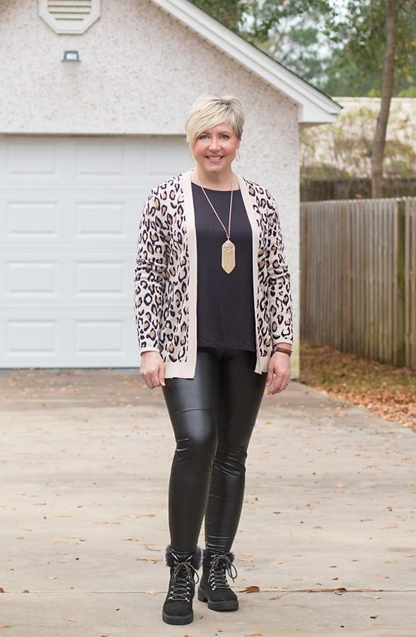 leopard print cardigan with leggings