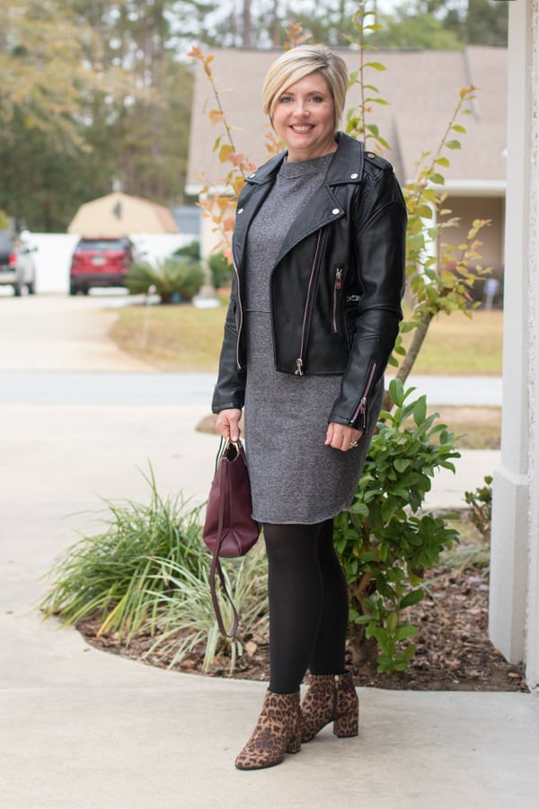 dress and moto jacket outfit