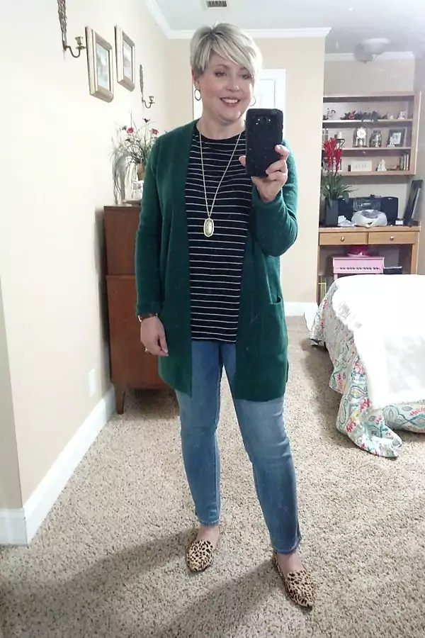 green cardigan and striped top