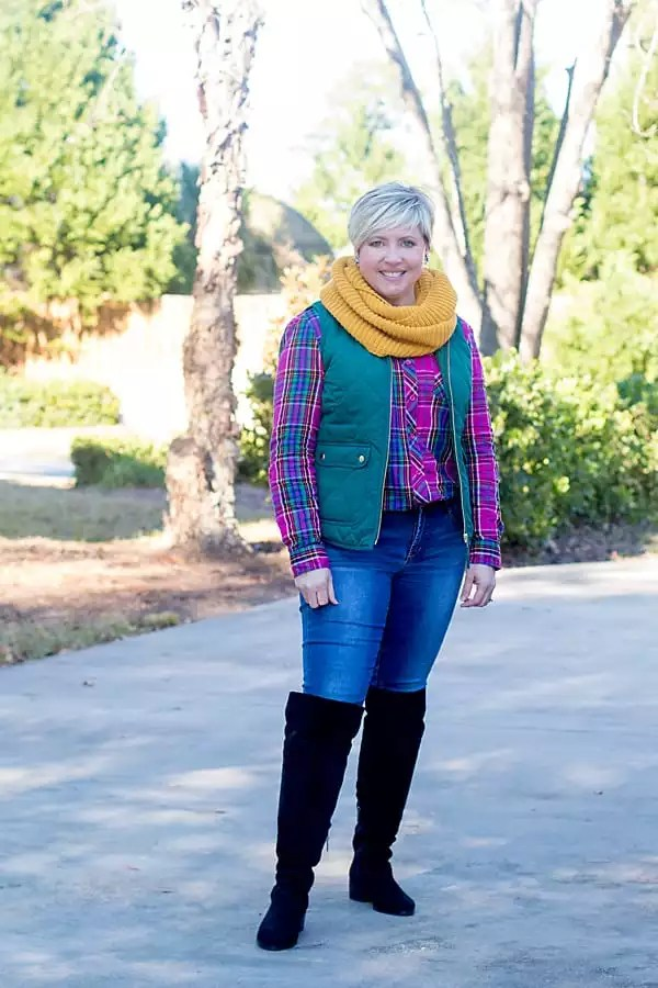 break out of a winter style rut with bright colors and layers