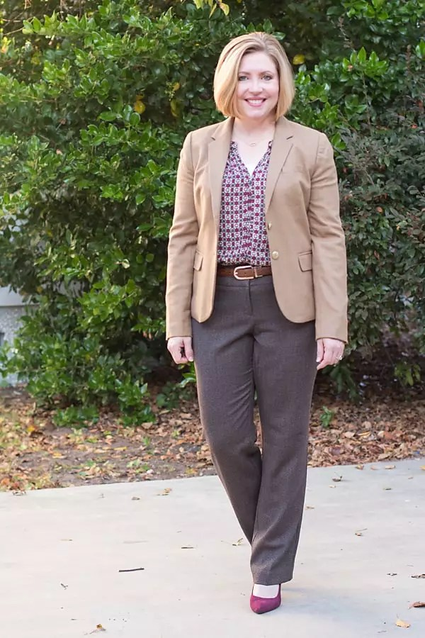 camel blazer with brown tween pants, office outfit