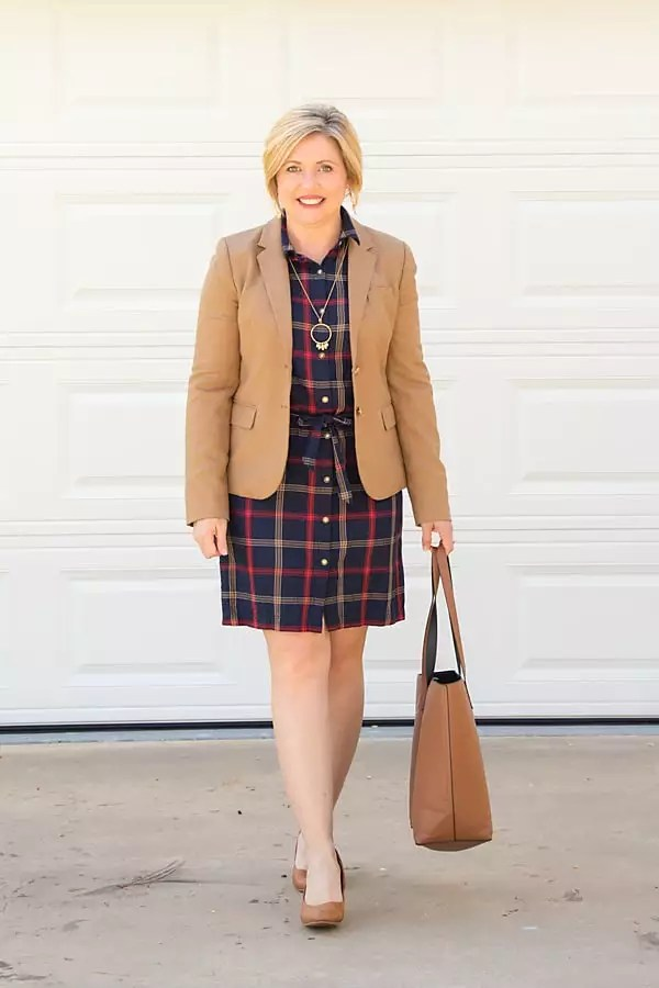 camel blazer with plaid shirt dress