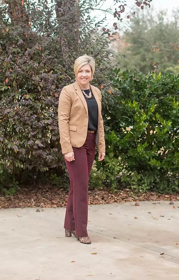 camel blazer office outfit