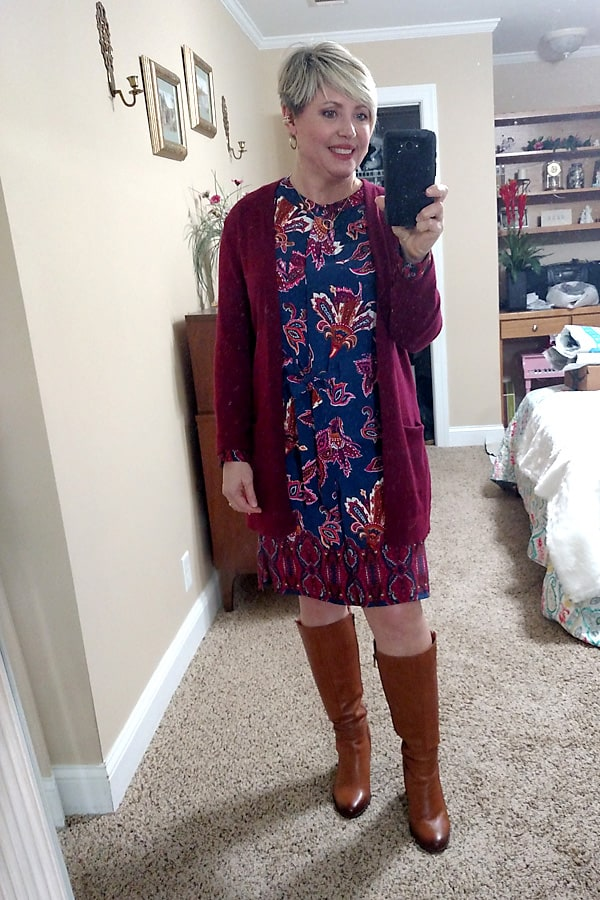 cardigan and dress outfit for women over 40