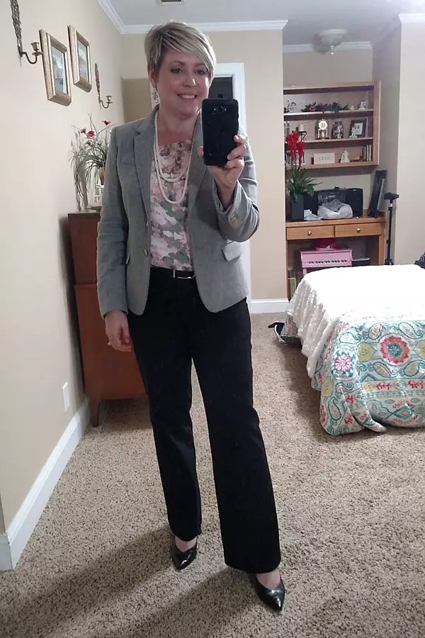 grey blazer with floral blouse