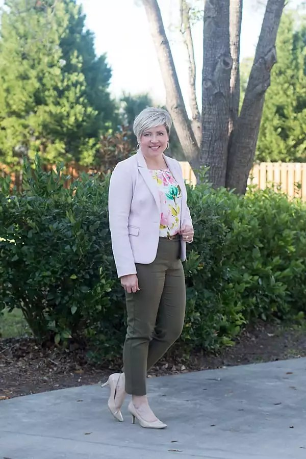 blush blazer with olive pants office outfit