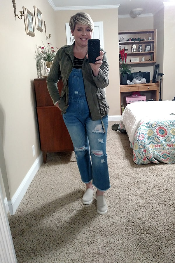 overalls with utility jacket