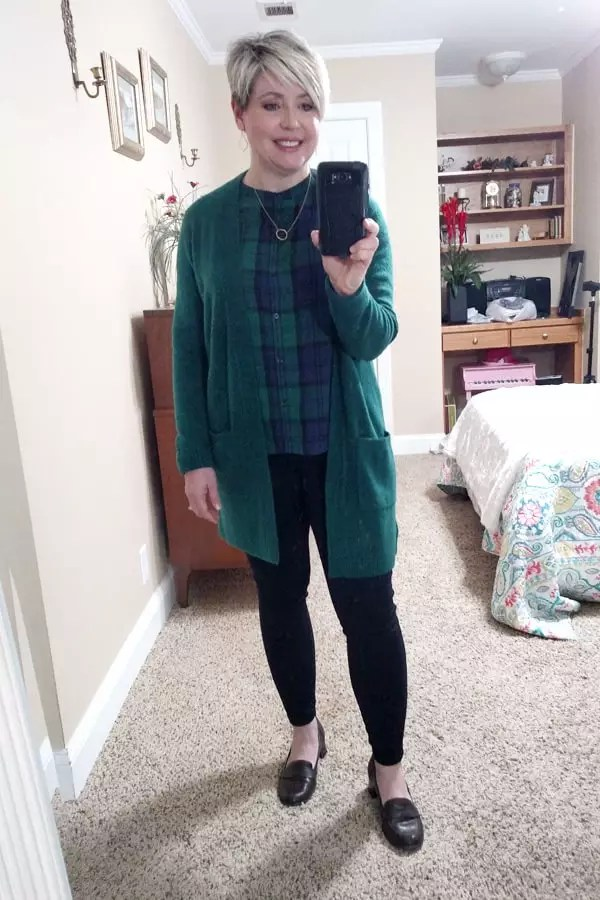 blackwatch plaid top and green cardigan
