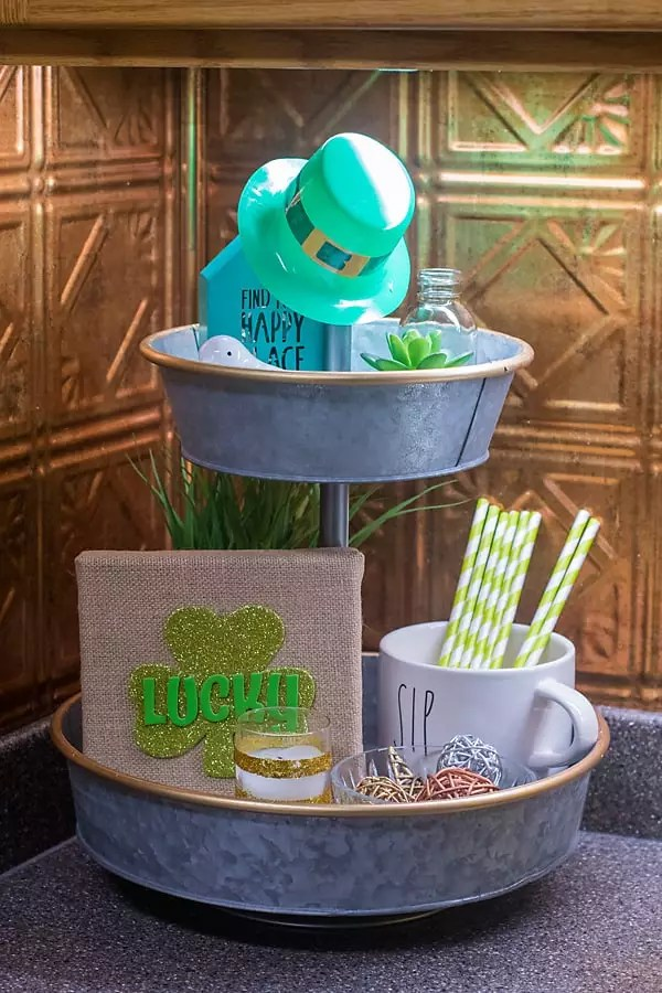 St. Patrick's Day themed tiered tray