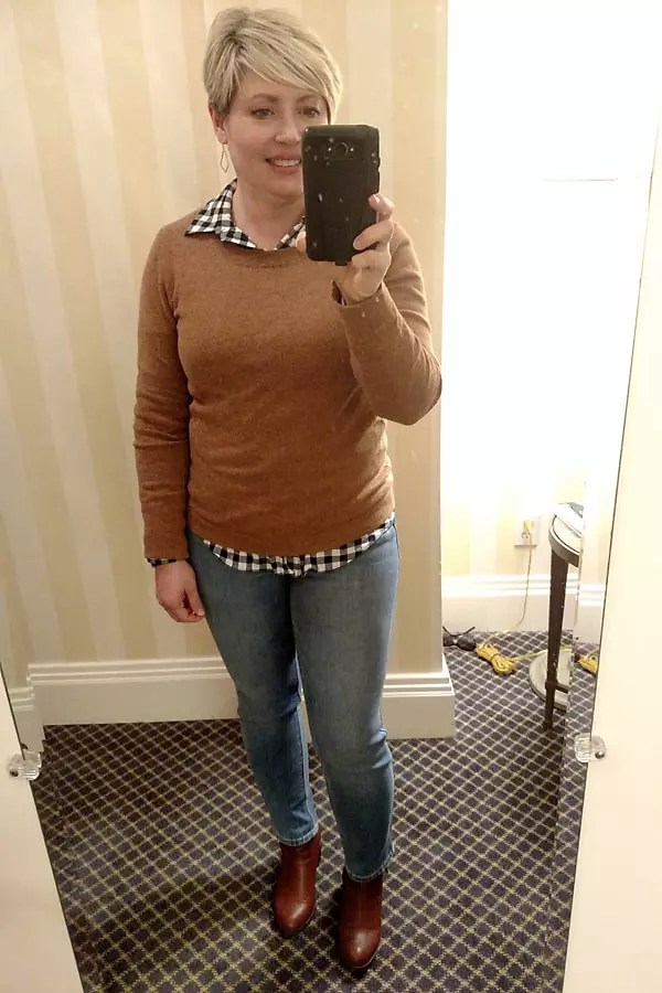 camel sweater and gingham shirt