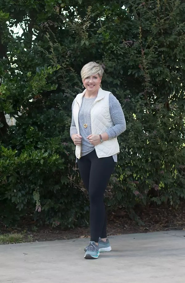 quilted vest with atheleisure outfit