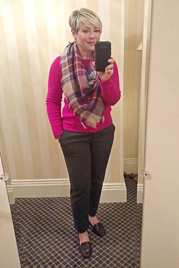 jcrew factory teddie sweater in work outfit