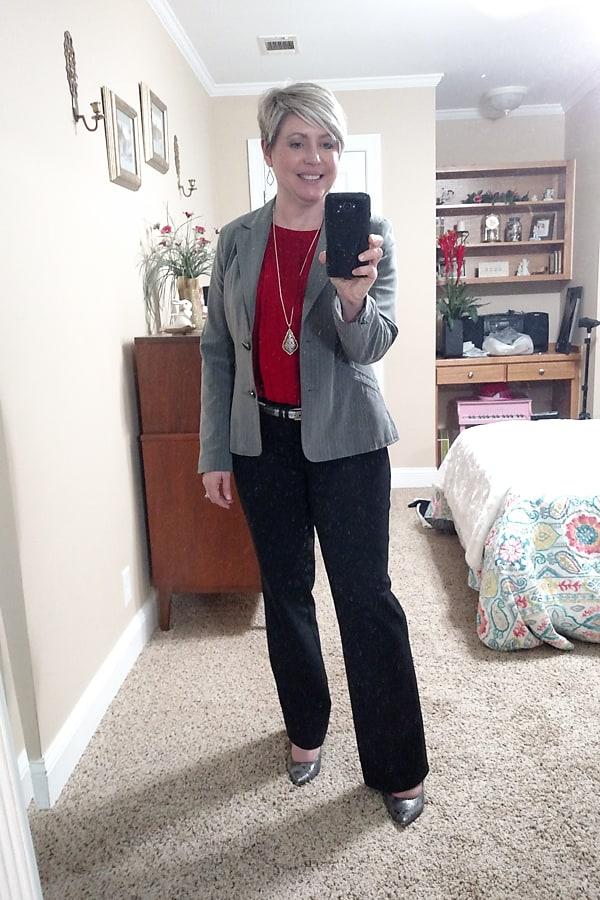 grey pinstripe blazer office outfit