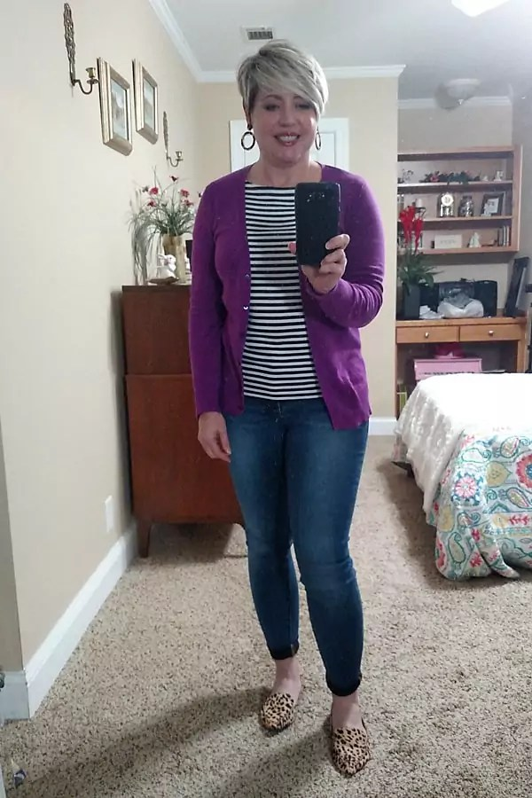 striped top with cardigan spring outfit