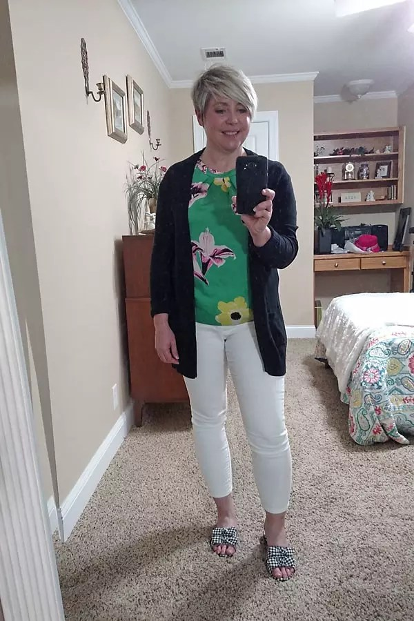 work at home outfit/ white jeans with black cardigan