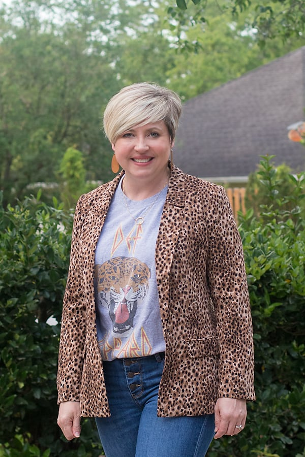 Def Leopard band tee; t-shirt with blazer